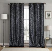 kensie Maddie Silver Metallic Textured Blackout Darkening Grommet Top Window Curtains Pair Drapes for Bedroom, Living Room-Set of 2 Panels, W38 X L84, Black