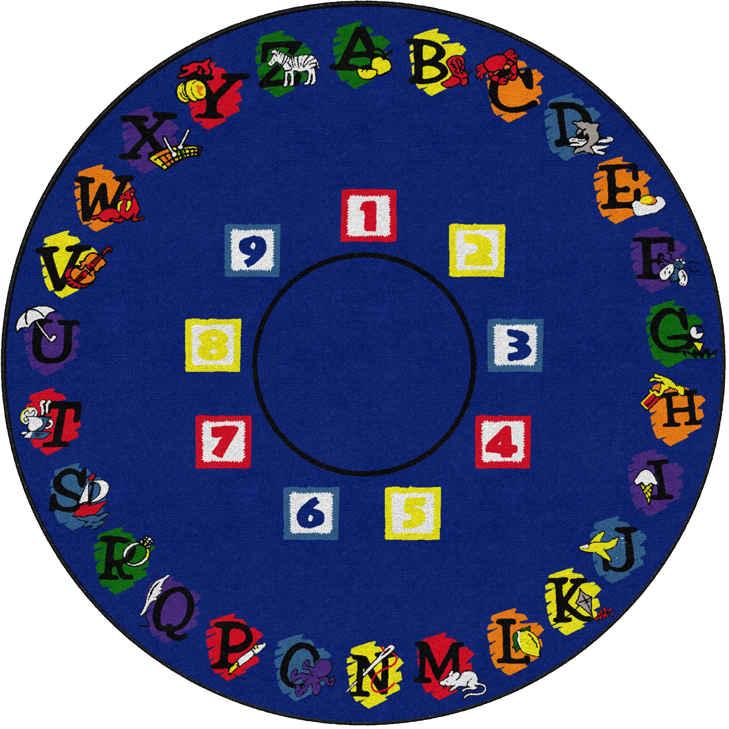 Flagship Carpets FE113-87A Super Circle, Children's Classroom Educational Rug, 6' Round