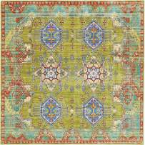 Unique Loom Austin Collection Botanical Abstract Traditonal Medallion Vibrant Colors Light Green Square Rug (8' 0 x 8' 0)