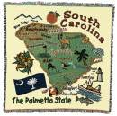 Pure Country Weavers South Carolina State Woven Throw Blanket 100% Cotton Made in The USA 54x54