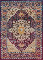 Well Woven Curie Boho 4x6 (3'11'' x 5'3'') Area Rug Medallion Multi Purple Modern Distressed Traditional Vintage Oriental