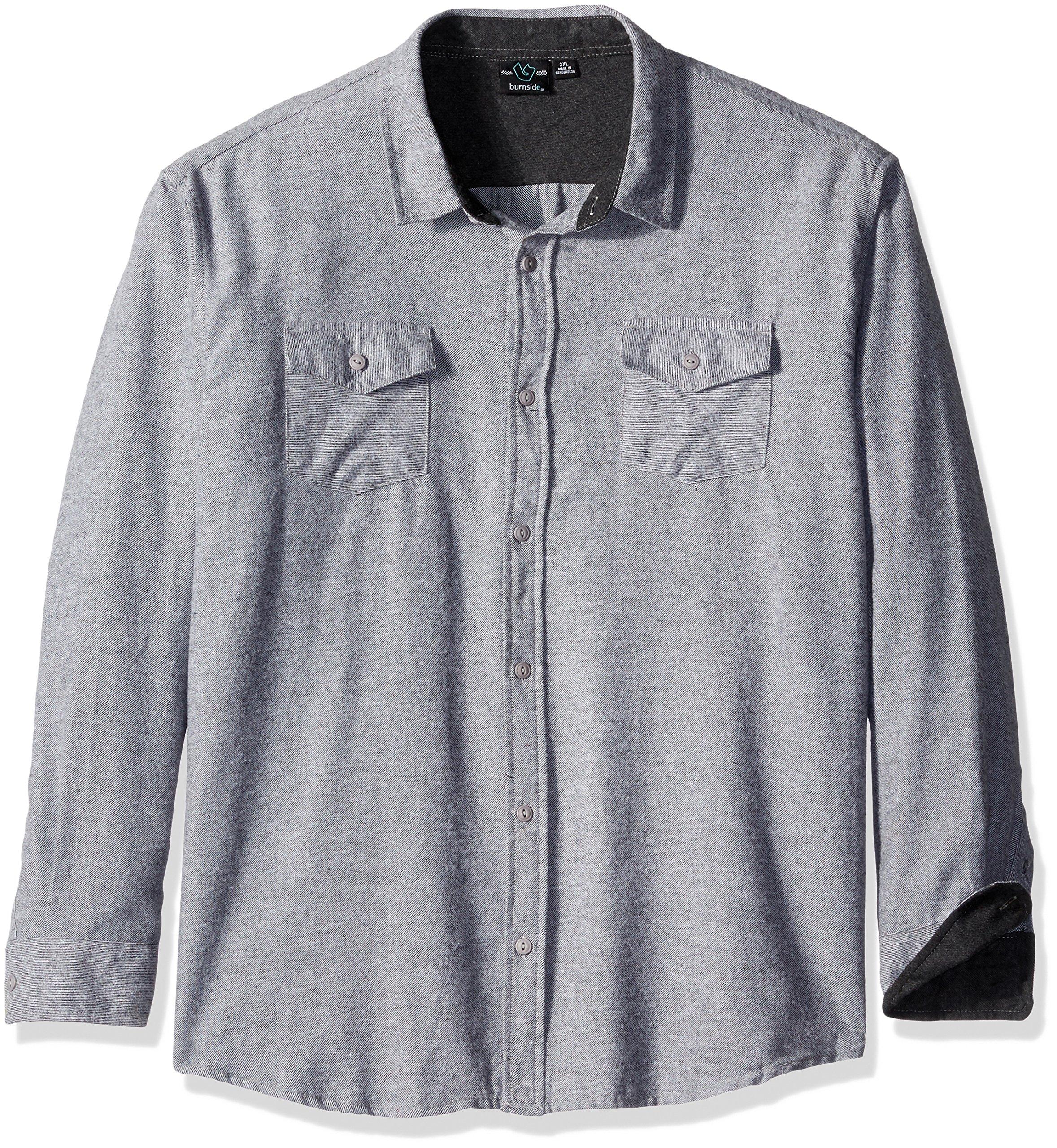 Burnside Men's Carter 2 Solid Flannel Button Down Long Sleeve Shirt