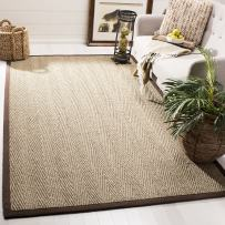 Safavieh Natural Fiber Collection NF115K Herringbone Natural and Dark Brown Seagrass Area Rug (4' x 6')
