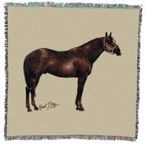 Pure Country Weavers Quarter Horse II Woven Throw Blanket with Artistic Textured Design Cotton USA 54x54