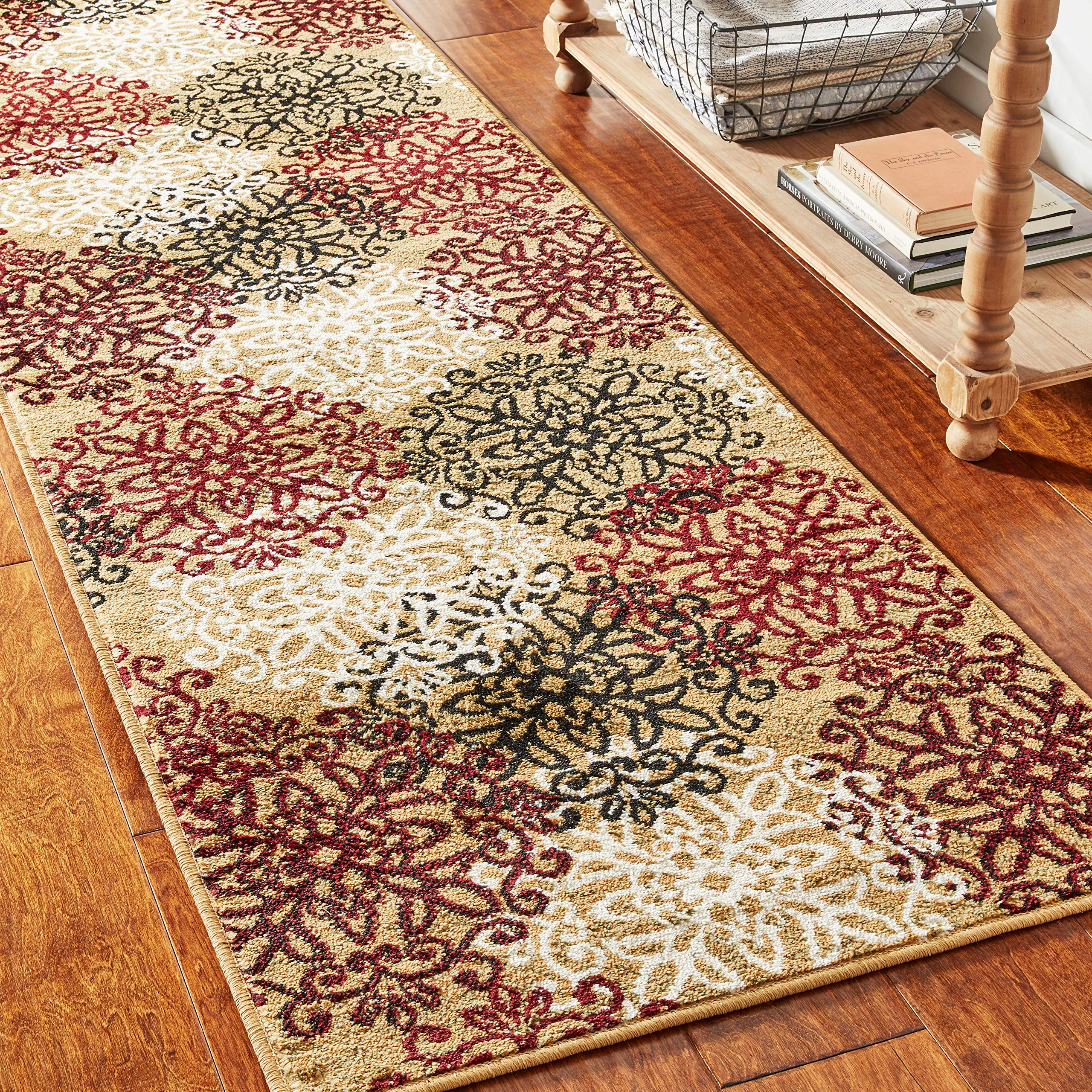 """Superior 8mm Pile Height with Jute Backing, Chic Contemporary Floral Medallion Pattern, Anti-Static, Water-Repellent Rugs, 2'7"""" x 8' Runner, Gold"""