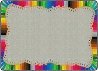 "Flagship Carpets FE276-32A Colored Pencils, Children's Classroom Rug, 6'x8'4"", Rectangle, Multi"