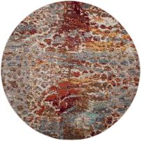 """Safavieh Valencia Collection VAL218K Multicolored Distressed Abstract Watercolor Silky Polyester Round Area Rug (6'7"""" in Diameter)"""