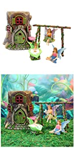 miniature fairy garden complete kit set tree house cottage indoor outdoor kids whimsical whimsy