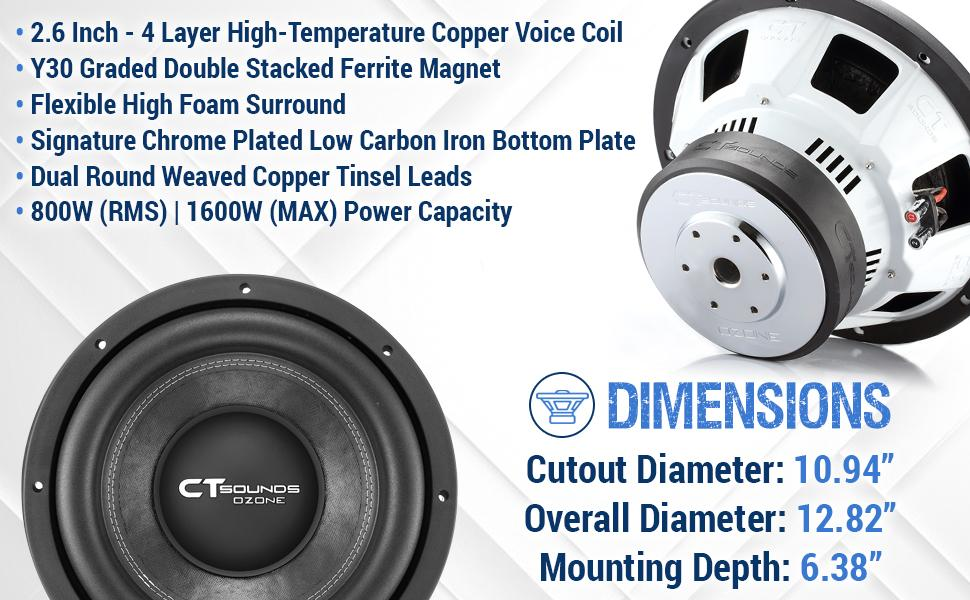 ct sounds 12 inch subwoofer car audio 12in woofer bass subs powered compact speakers for cars
