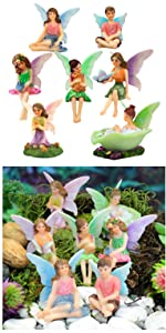 fairy garden miniature fairies set small fairy girls indoor outdoor whimsical whimsy sitting