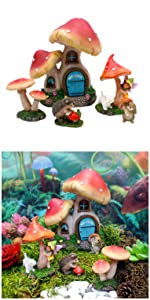 miniature fairy garden complete kit set mushroom house cottage animals home indoor outdoor