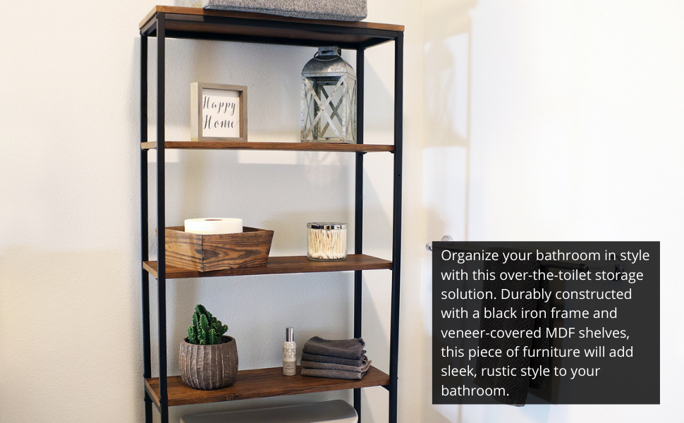 Organize your bathroom in style with this over-the-toilet storage solution.