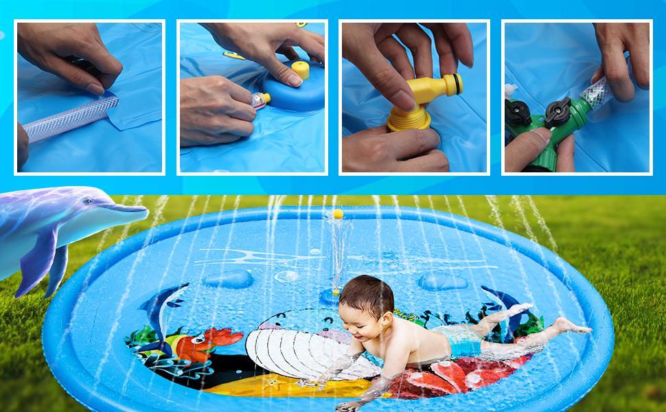 "Sprinkler for Kids Toddlers Splash Pad Play Mat 60"" Inflatable Baby Wading Pool"
