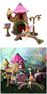 fairy garden kit house cottage home lamp mailbox seat fairy miniature complete indoor outdoor kids