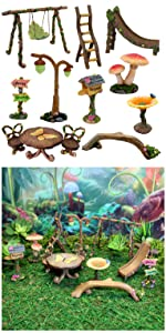 fairy garden miniature tools supplies accessories furniture sign swing ladder light seat table