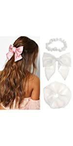 3 pcs hair scrunchies bow barrette set stretchy hair scrunchy hair clip head band for women