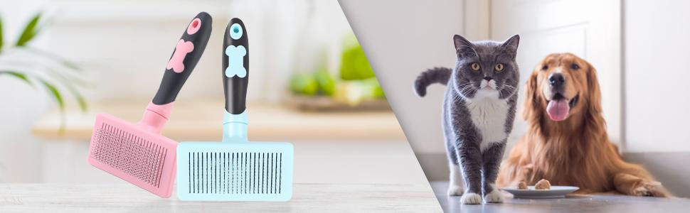 Slicker Dog Brush for Shedding Short Hair and Long Hair, Self Cleaning Dog and Cat Brush