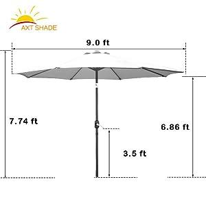 9ft patio umbrella dimensions