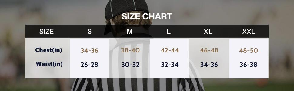 referee shirts size chart