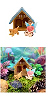 fairy garden miniature figurines boy gnome puppy dog house indoor outdoor kids adults whimsical