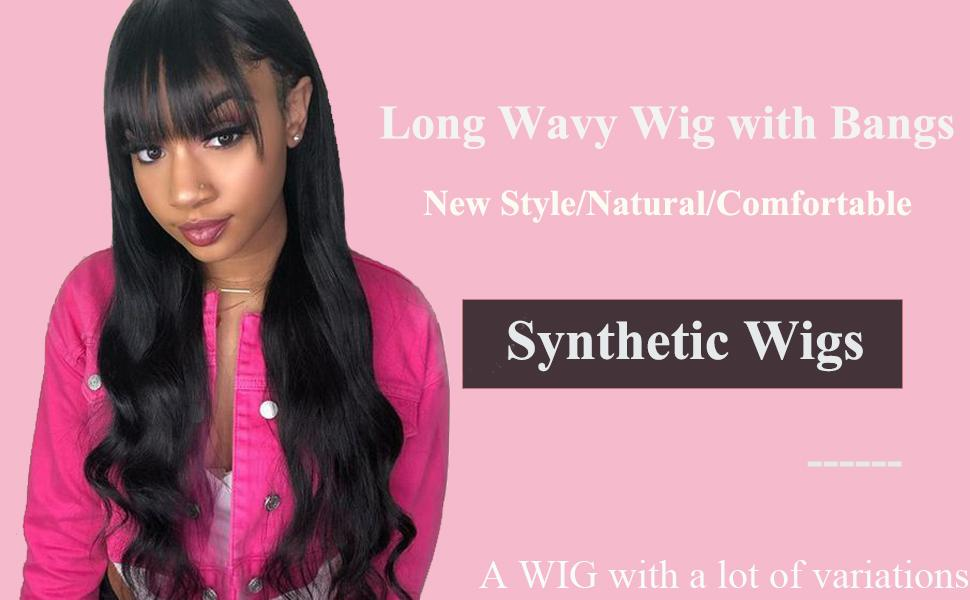 Long wavy wig with bangs Black
