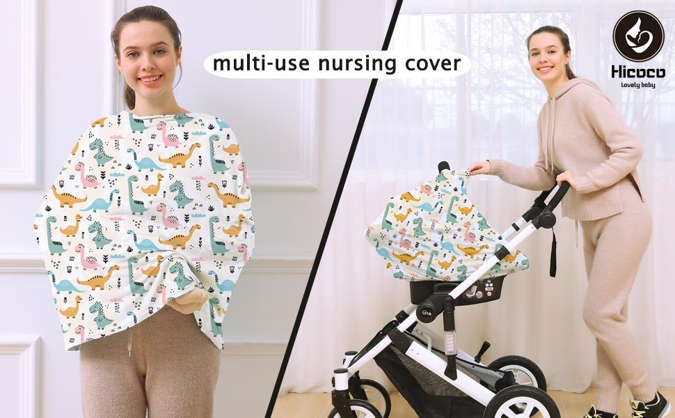 multi-use nursing cover - colorful dinosaur print