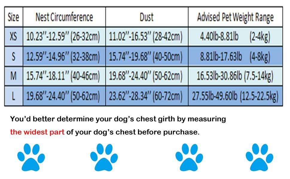dog harness size chart