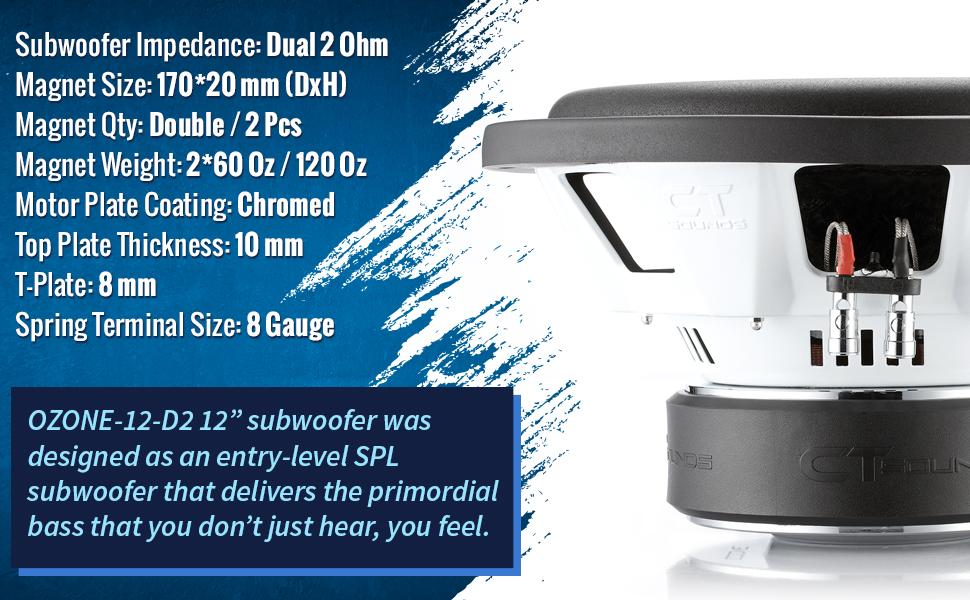 """12"""" car subwoofer powered car audio ct 12 spl bass 12in woofer for cars subs loud powered compact"""