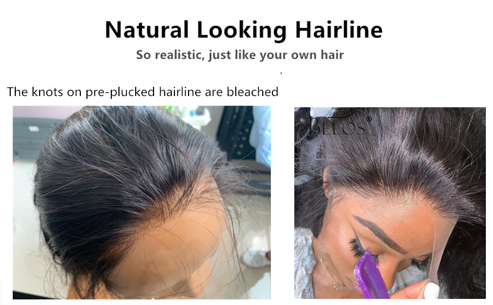 Natural Hairline pre plucked bleached knots