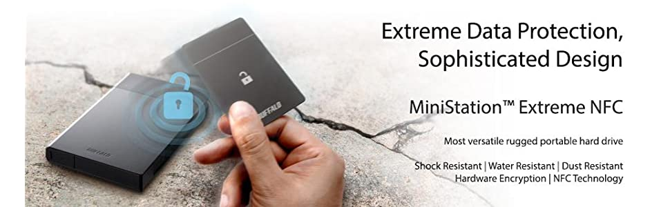 ministation extreme nfc, rugged hard drive, portable hard drive, secure hard drive, nfc technology
