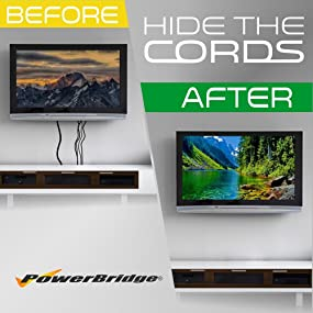 powerbridge one-pro two-pro wall mount flat screen tv cables conceal hdmi hide cords extension
