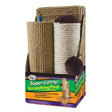 cat toys, scratching posts