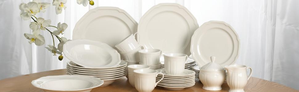 Antique White, Mikasa, dinnerware, china, plates, porcleain