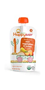 organic baby food pouch, meat, grains
