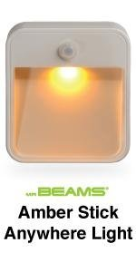 mr beams amber stick anywhere light, amber led night light, amber light for sleep