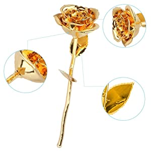24k gold red rose gift for her christmas gold flower galaxy forever crystal Home Decoration