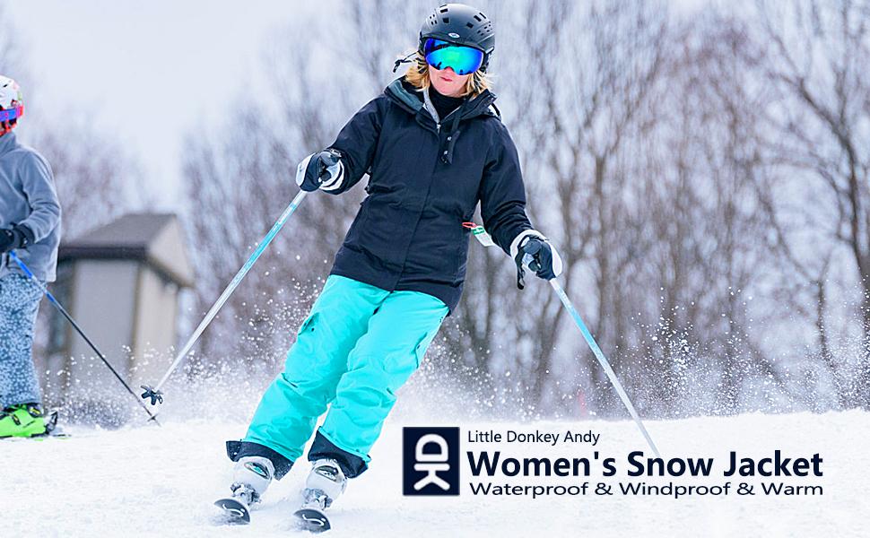 womens waterproof and windproof warm snow jacket