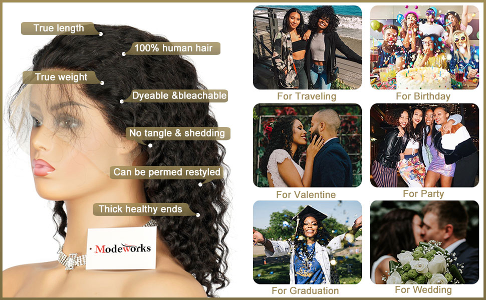 100% Unprocessed Brazilian Virgin Human Hair Natural Deep Curly Wave Lace Frontal Wigs