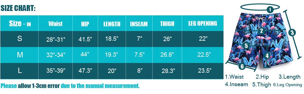 COODYAKE Men's Swim Trunks Size Chart