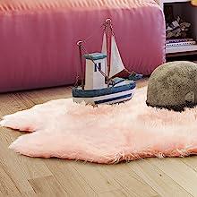 blush pink faux fur rug