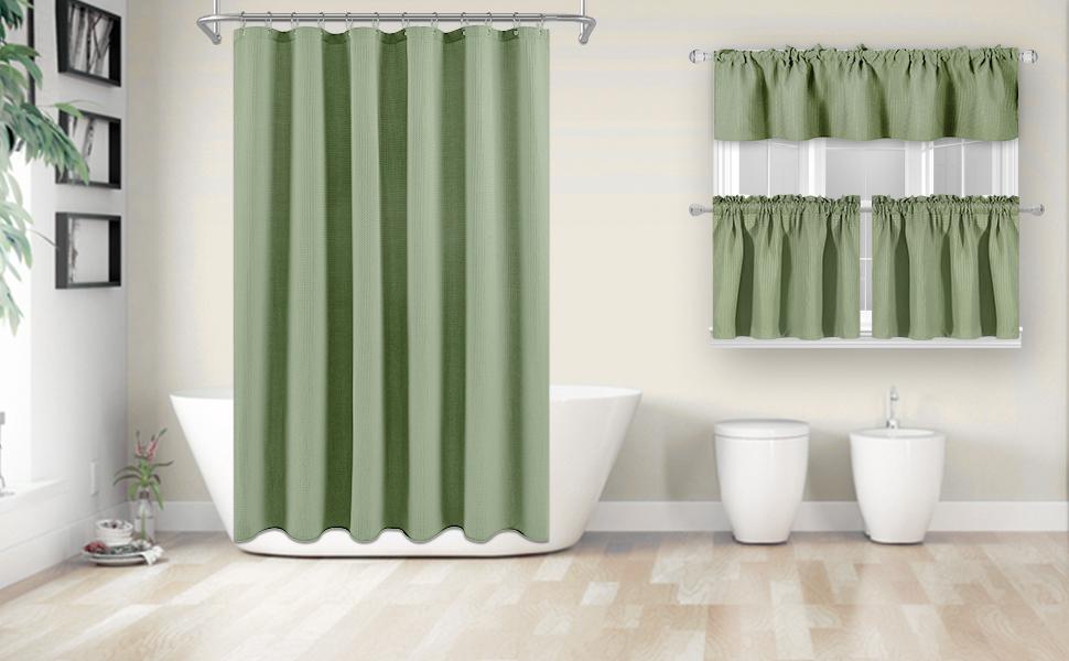 Sage Green Bathroom curtains