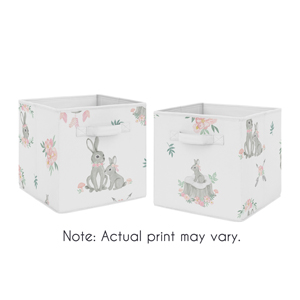 Pink Grey Dream Catcher Foldable Fabric Storage Cube Bins Boxes Toys Baby Bunny Floral Collection