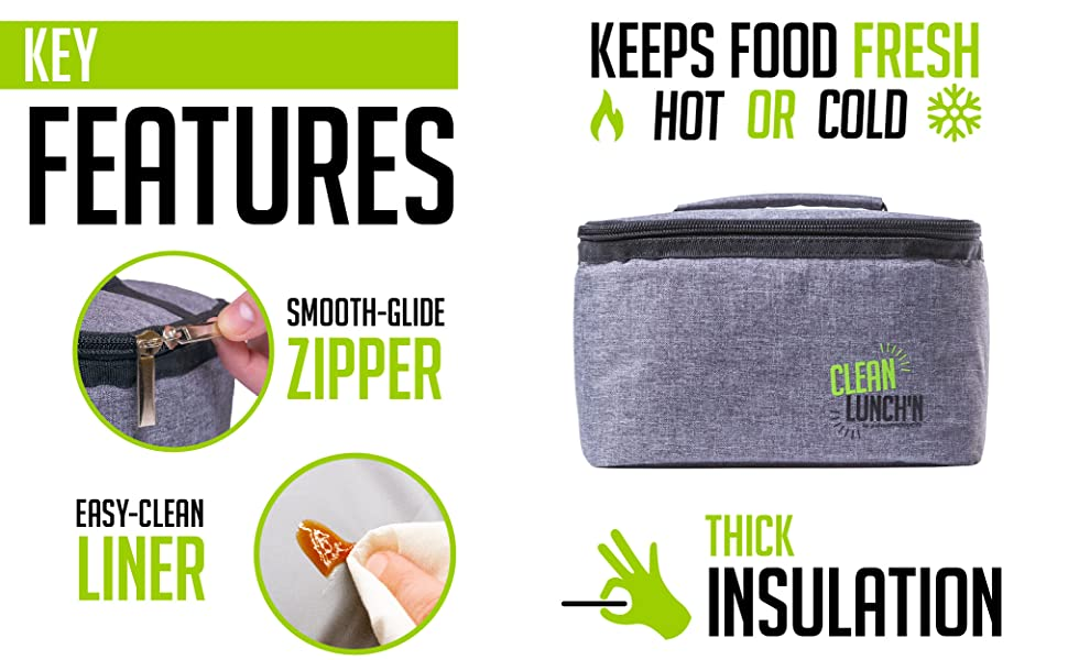 the clean lunch'n food bag keeps hot or cold