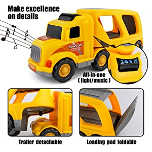 Bright Flashing 4D Lights & Real Siren Sounds         Transforming Construction Toys