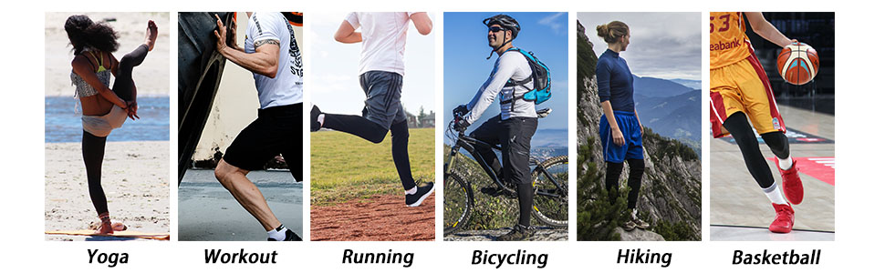 yoga workout running cycling biking hiking basketball leg sleeve support