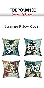 tropical blue costal beach summer pillow cover