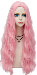 Long Pink Curly Wig