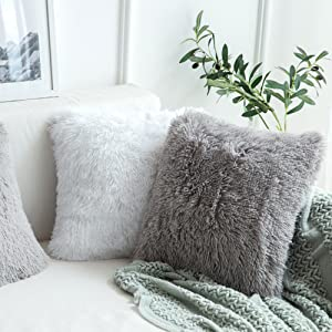 faux fur pillow covers grey gray pillows fluffy soft shaggy