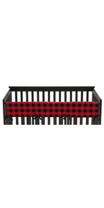 Woodland Buffalo Plaid Boy Long Front Crib Rail Guard Baby Teething Cover Protector Wrap