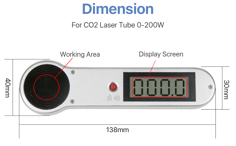 Cloudray 200W Handheld CO2 Laser Power Meter Probe for Detecting 0-200W CO2 Laser Tube